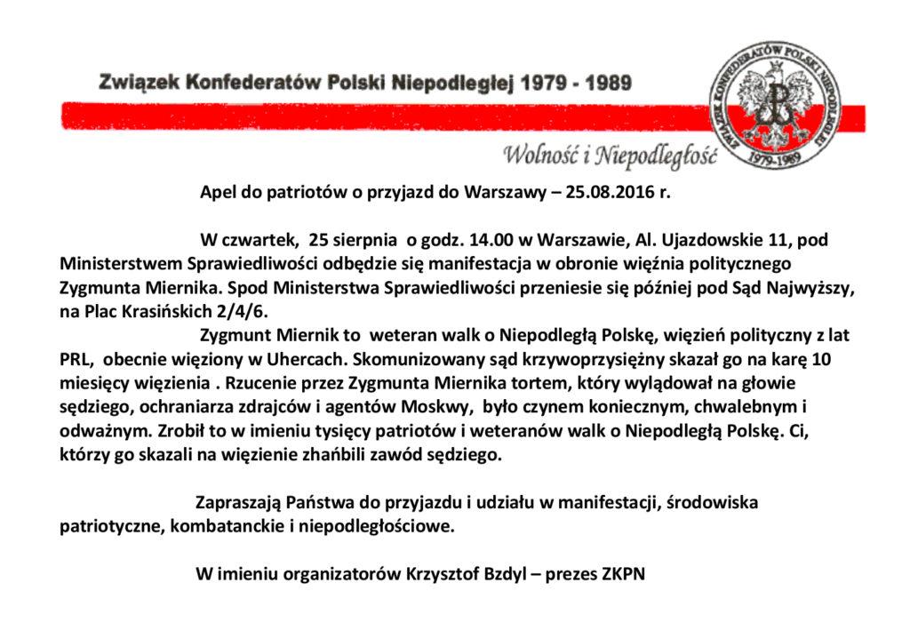 Apel o przyjazd do Warszawy - 25.08.2016